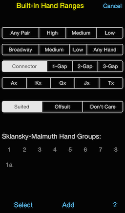 PokerCruncher - Built-In Hand Ranges: Select all suited connectors