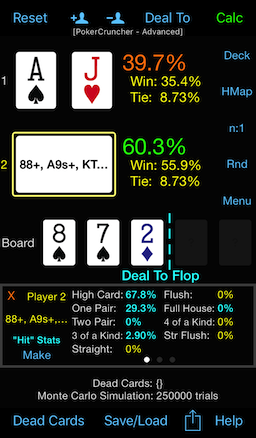 PokerCruncher - Flop Texture Analysis: Hand Type Stats, Flop Hit Stats