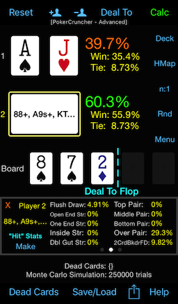 PokerCruncher - Flop Texture Analysis: Odds For Flopping Draws, OnePair Breakdown Stats
