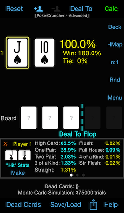 PokerCruncher - JTs: Deal-To-Flop Analysis: Hand Type Stats, Flop Hit Stats