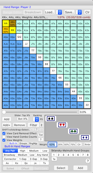 PokerCruncher-Mac - %age Weights In Hand Ranges